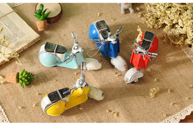 Colorful Metal Motor Scooter Figurine