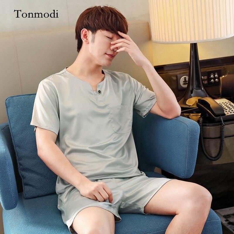 Mens Silk Pajamas summer Short sleeve Luxurious Silk Satin Pyjamas Mens sleep lounge Pajama Sets Plus Size 3XL