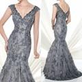 Lindo Decote Em V Profundo da Luva do Tampão Do Laço com Lantejoulas Luxo Personalizado Sexy Cinza Mãe dos Vestidos de Noiva 2015 Sereia