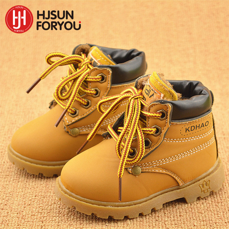 2019 Winter Children's boots Girls Boys Plush Martin Boots Casual Warm Ankle Shoes Kids Fashion Sneakers Baby Snow Boots