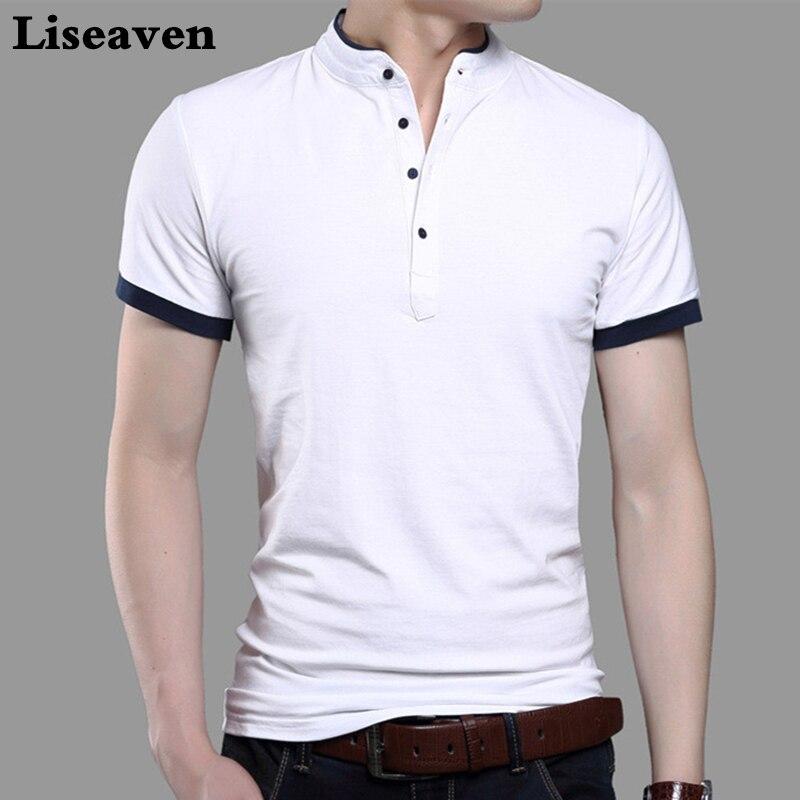 f300c0b37d4cc2 2017 Moda Marka Odzież Tshirt Mężczyźni Jednolity Kolor Slim Fit Z Krótkim  Rękawem T Shirt Mężczyźni Stójka Casual Koszulki