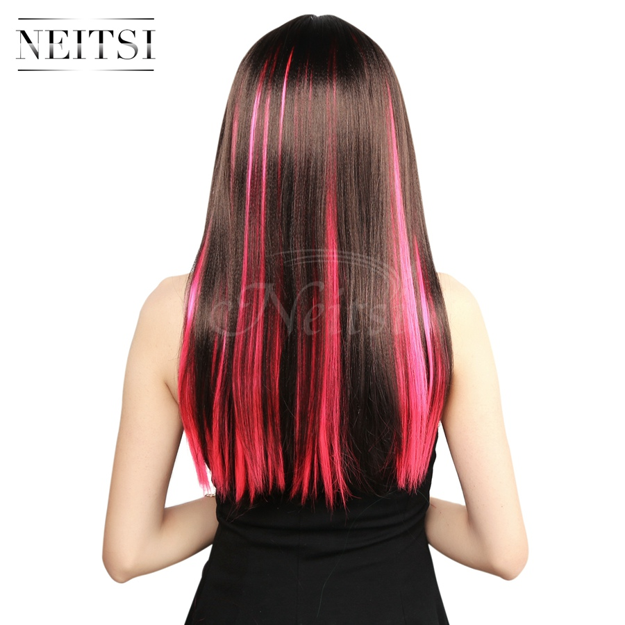 Neitsi 10pcspack 18inch Colored Highlight Synthetic Clip On In Hair