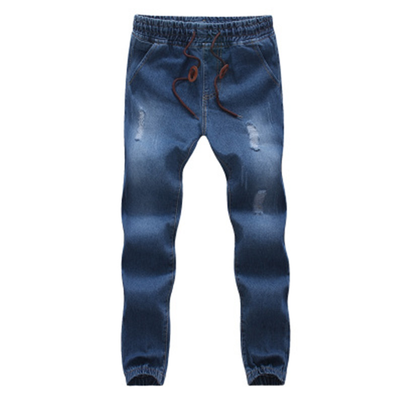 2017 Mens trousers Casual Ankle Length Men Loose Fit  Pencil Jeans Harlan Pants cowboy feet  M-5XL Male Denim Jeans loose lace up casual mens pencil pants