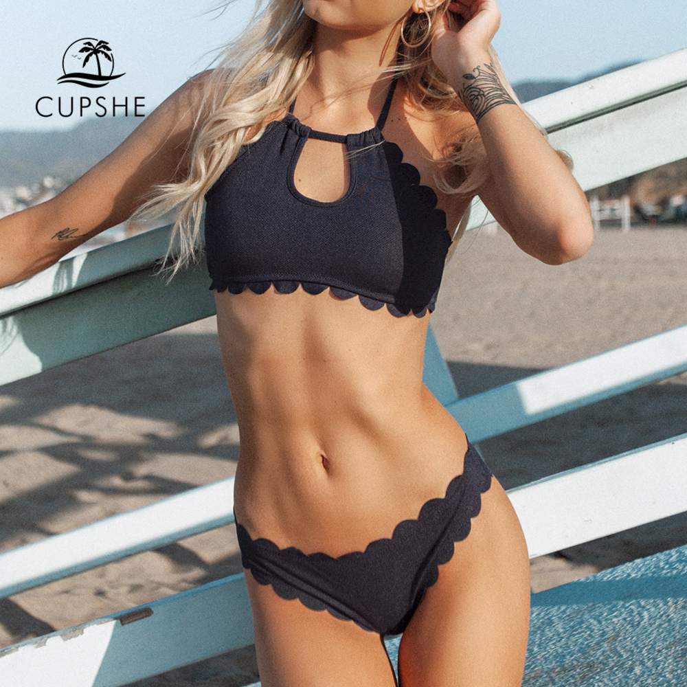 CUPSHE Black Halter Bikini Set Women Cutout Backless Crop Top Two Pieces Swimwear 2018 Girl Beach Bathing Suits Swimsuits fashionable halter neck letter print women s crop top for women