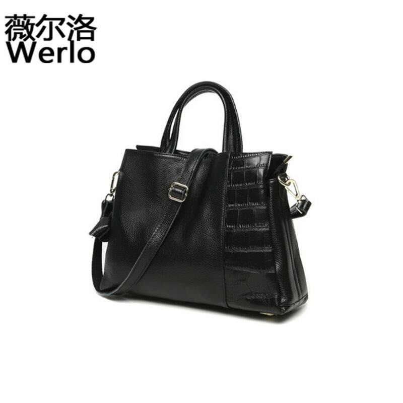 WERLO Famous Brand New Designer Women Bags Totes 100% Genuine Leather Female Handbags Casual Ladies Shoulder Bags Blosas SJ126 2017 new casual women shoulder bags famous brand fashion designer handbag solid genuine leather bag totes bolsos mujer