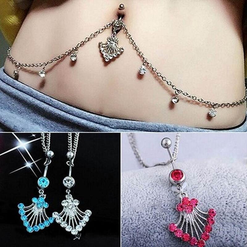 HTB1iO9cRpXXXXc9aXXXq6xXFXXXb 2-In-1 Rhinestone Studded Belly Chain Dangle Navel Ring - 2 Styles