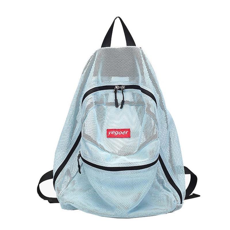 Candy Color Transparent Mesh Beach Shoulder Backpack For Teenage Girls Summer Foldable Swimming Storage Bag Female Tas XA565WD