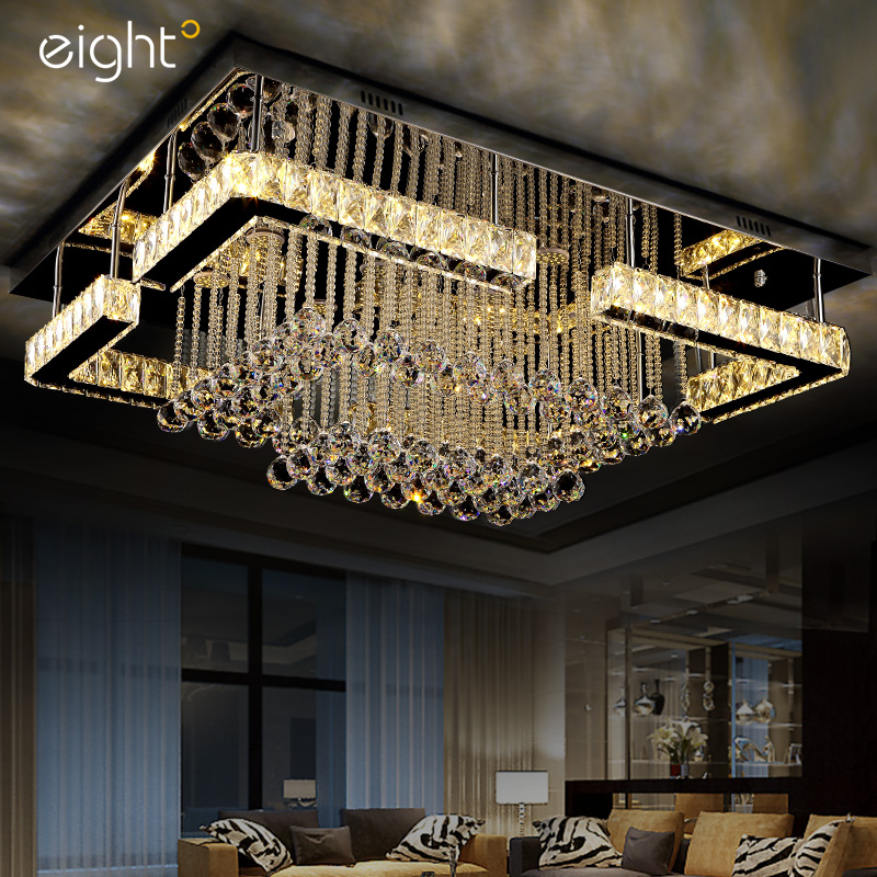 Гостиная Огни Прямоугольные светодиодный хрустальные светильники атмосферное потолочные светильники