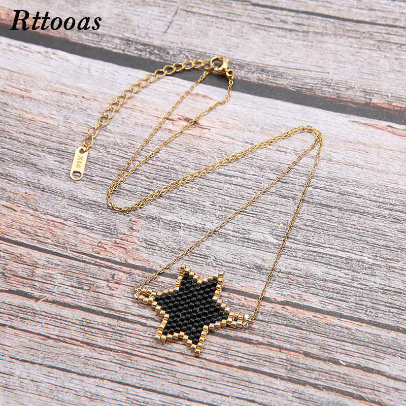 Rttooas MIYUKI Beads Handmade Woven Star Choker Necklace Women Girls Fashion Summer Jewelry Accessories Gift