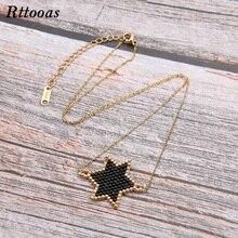Rttooas MIYUKI Beads Handmade Woven Star Choker Necklace Women Girls Fashion Summer Jewelry Accessories Gift