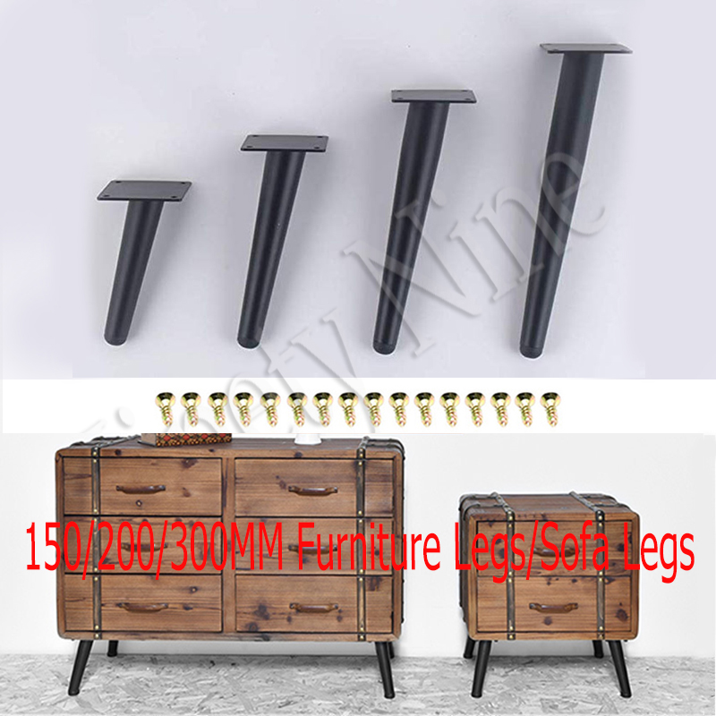 4Pcs Furniture Legs, 150/200/250/300MM Black Sofa Leg Stainless Steel Table Legs Hardware Cabinet Feet