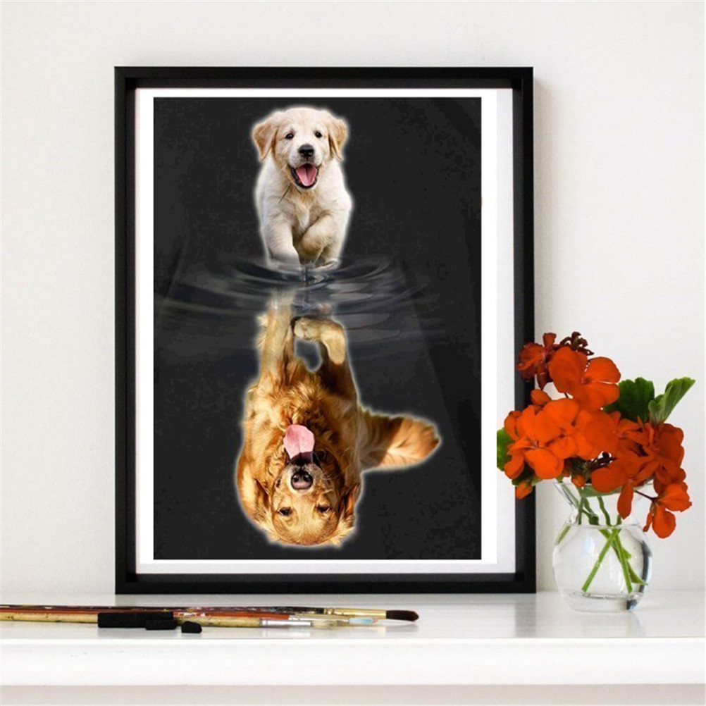 1PC DIY Golden Puppy Retrievers Dog Embroidery Full Diamond Cross Stitch Square Diamond Personality Painting