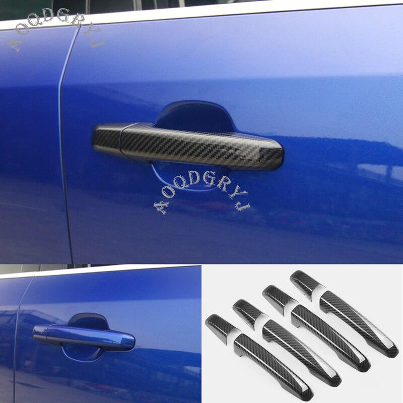 Jaguar Auto Accessory Door Handle Trim Molding Scratch Cover Guards Carbon Fiber 4 Door Pack
