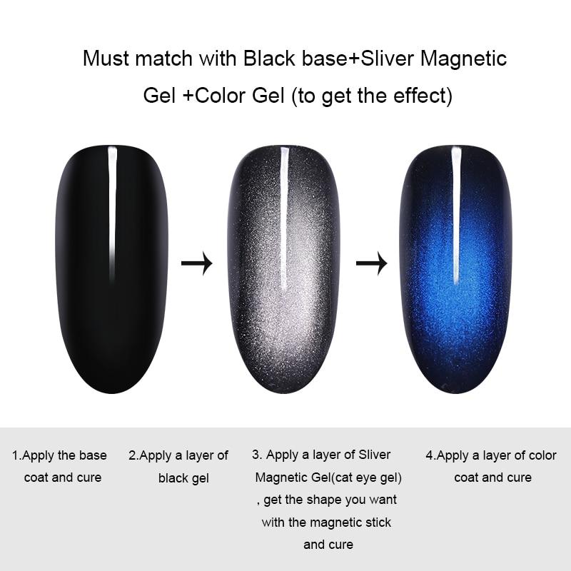 BORN PRETTY Glamorous Cat Eye Effect Gel Nail Polish 6ml Soak Off UV LED Gel Lacquer Nail Art Design Black Based Need in Nail Gel from Beauty Health