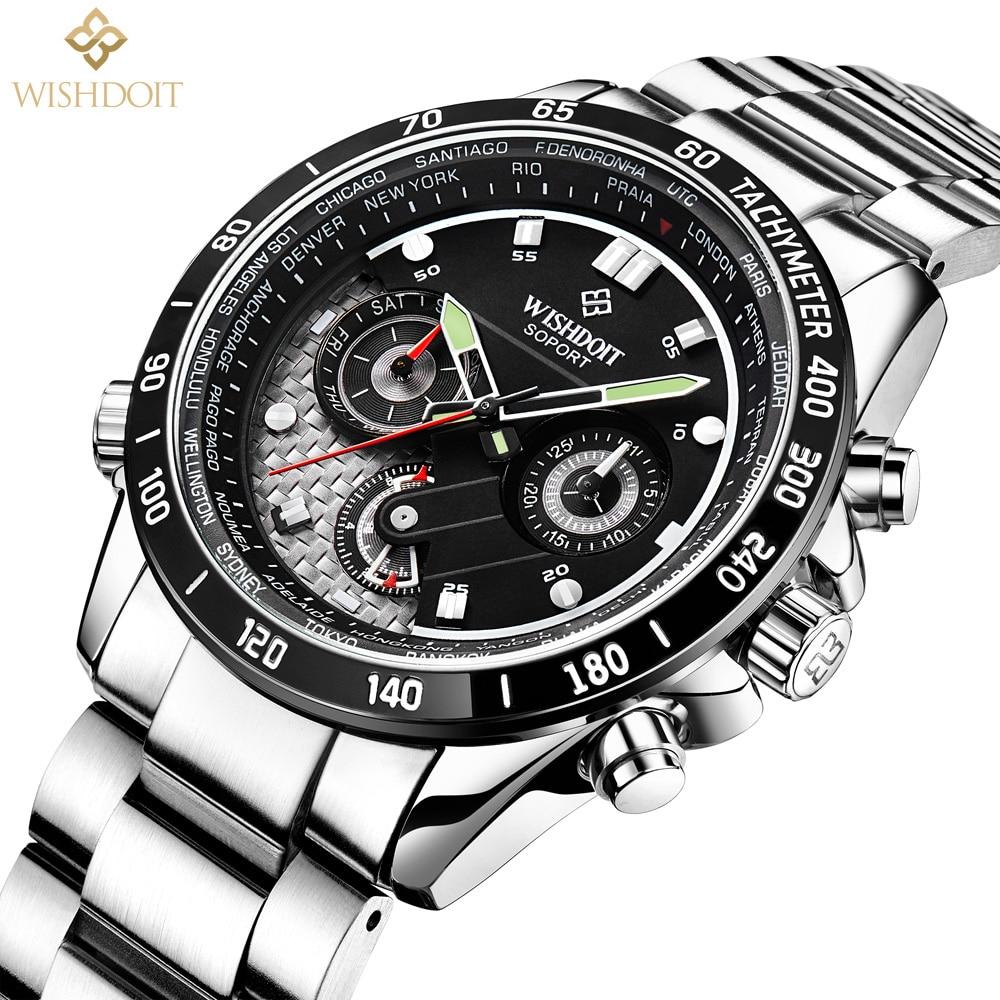 ФОТО 2017 new Business Men's watches men quartz watch men luminous waterproof outdoor sports steel strap real three dials Brand