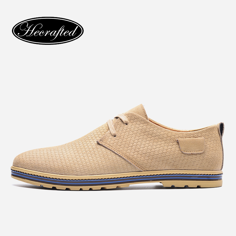 37~45 Cow Suede Men Flats Hecrafted Brand Lace-up Breathable Handmade Spring Men Casual Shoes #1579 top brand high quality genuine leather casual men shoes cow suede comfortable loafers soft breathable shoes men flats warm