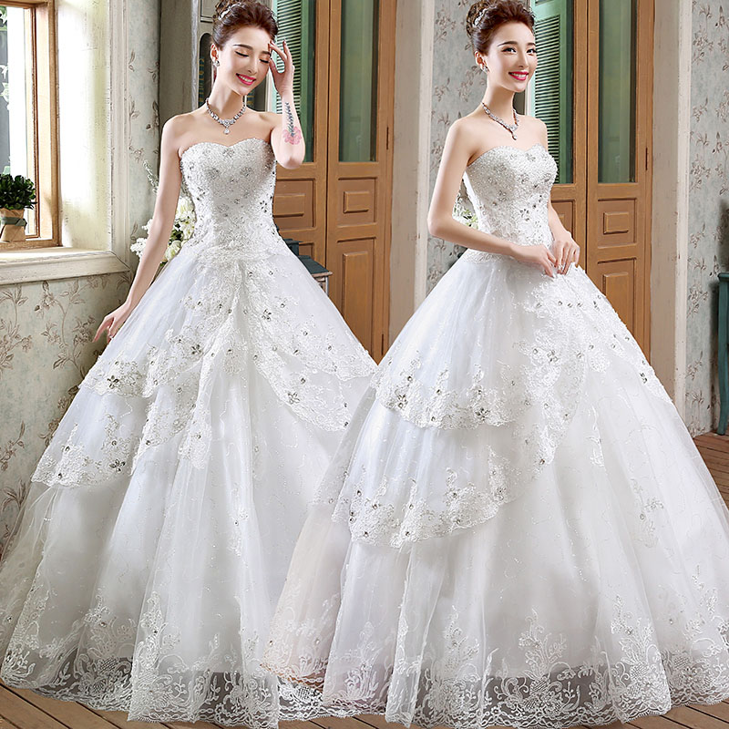 Luxury Beaded Lace Real Sample Crystal Wedding Dress Tulle
