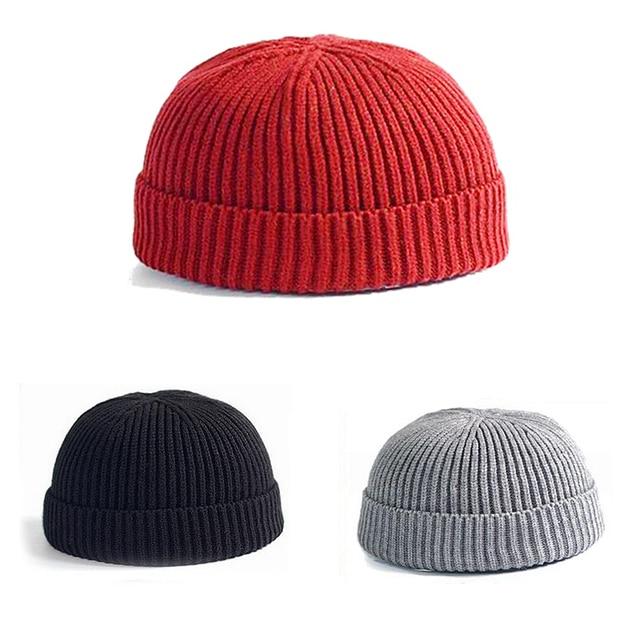 Invierno cálido punto Skullcap corta ocasional hilo Hip Hop sombrero  hombres lana de punto Beanie cráneo a65aaec22b0