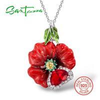 925 Sterling Silver White Cubic Zirconia Red Enamel Flower Pendanrt HANDMADE