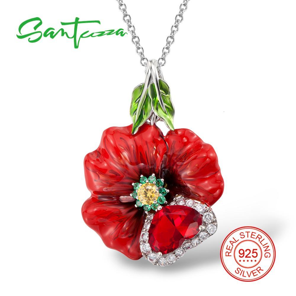 Silver Red Rose Pendants HANDMADE Enamel Flower Pendant Cubic Zircon Stone Solid 925 Sterling Silver Pendants