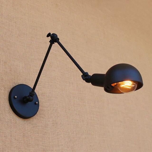 Industrial iron classic black mechanical swing arm adjustable wall lamps e27 AC 110v-220v lighting for Workroom Loft Bedroom bar