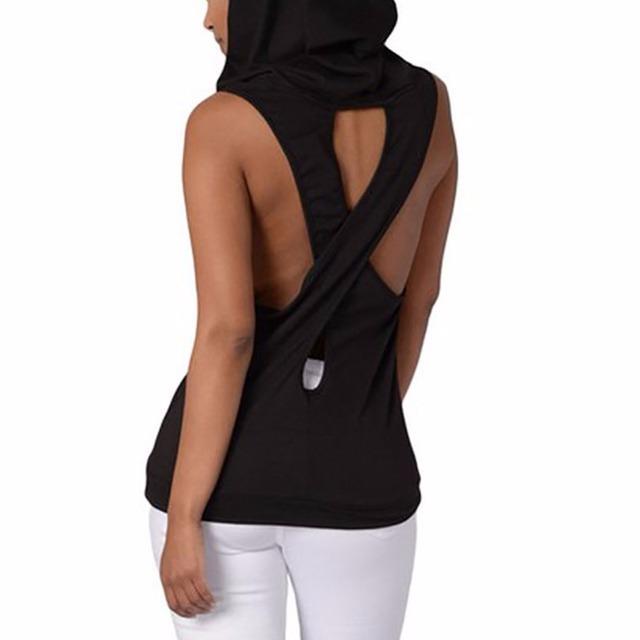 Yoga sleeveless hooded top