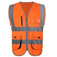 Safe vest High visibility reflective safety vest reflective vest multi pockets workwear safety waistcoat