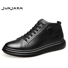 JUNJARM 2019 Fashion Men Ankle Boots Winter High Top Snow Keep Warm Flats Black