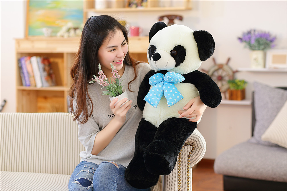 new plush blue bow panda toy lovely big panda doll gift about 100cm 0600 110cm cute panda plush toy panda doll big size pillow birthday gift high quality