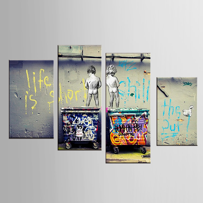 Framed 4 Panels Banksy Art Life Is Short Chill The Duck Out Wall Art Cheap Kids With Dustbin Wall Pcture Home Decor Artwork
