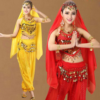 Girls Sequined Ballroom Bollywood Dancing dress Indian Belly Party Dance wear Costumes Suits Set For Women Chiffon belly Outfits indian princess belly dance tulle feather party mask