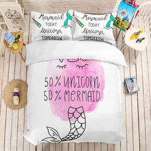 MUSOLEI 3D Duvet Cover Set Mermaid girl,unicorn, free conversion.Soft Bed Bedding Set Twin Queen King Size(China)