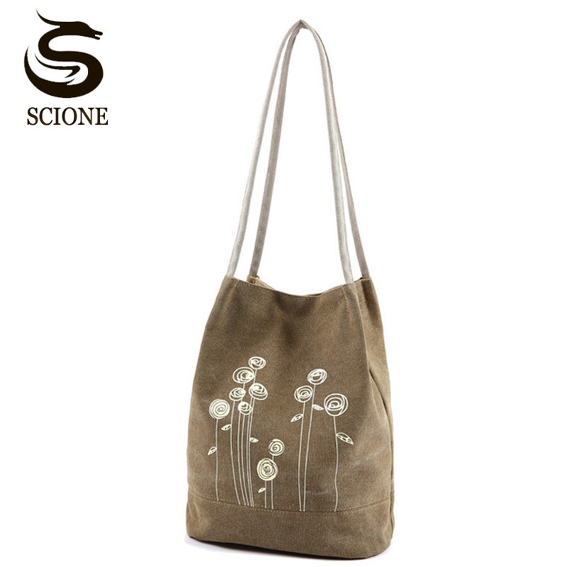 2018 Fashionable Women Canvas Shoulder Bag Cute Flower Printing Handbags Bucket Tote Bag Ladies Shopping Totes Beach Bag JXY575 scione new canvas women bag shopping shoulder bag funny design piano printing handbag beach tote woman canvas hand bags 2pcs set