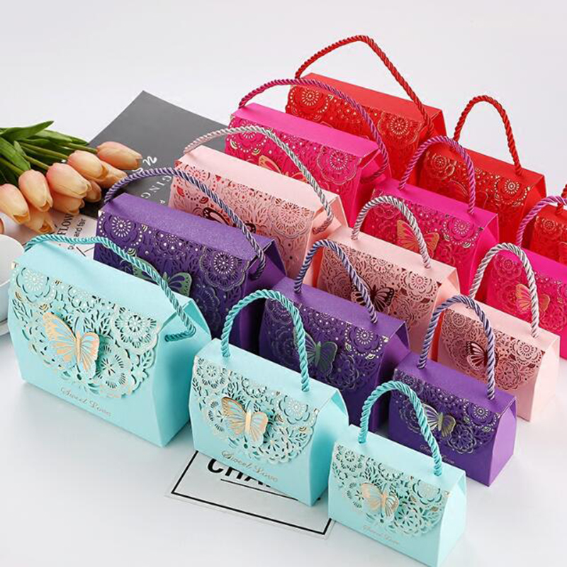 50pcs 3D Stereoscopic Flowers And Butterflies Wedding Favors Gift Bag For Guests Baby Shower Candy Box Birthday Party Candy Bag