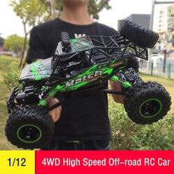 Carro RC 1/12 4WD Controle Remoto Veículo de Alta Velocidade de 2.4Ghz RC Carros Elétricos Monster Truck Buggy Off-Road brinquedos Infantis Presentes Surpresa