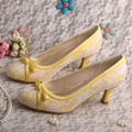 Wedopus MW356 Punta Cerrada Zapatos Amarillos para Las Mujeres Boda de Tacón Medio