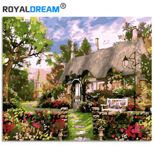 ROYALDREAM  Garden Cottage Landscape DIY Digital Oil Painting By Numbers Europe Abstract Canvas For Living Room