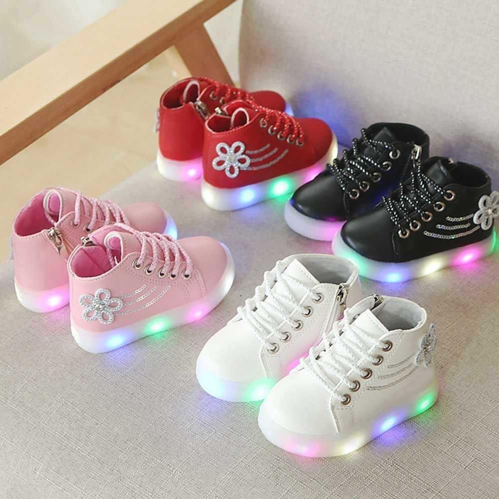 Children Baby Shoes Girls Floral Crystal Led Light Luminous Running Sport Boots Shoes Zapatos De Mujer