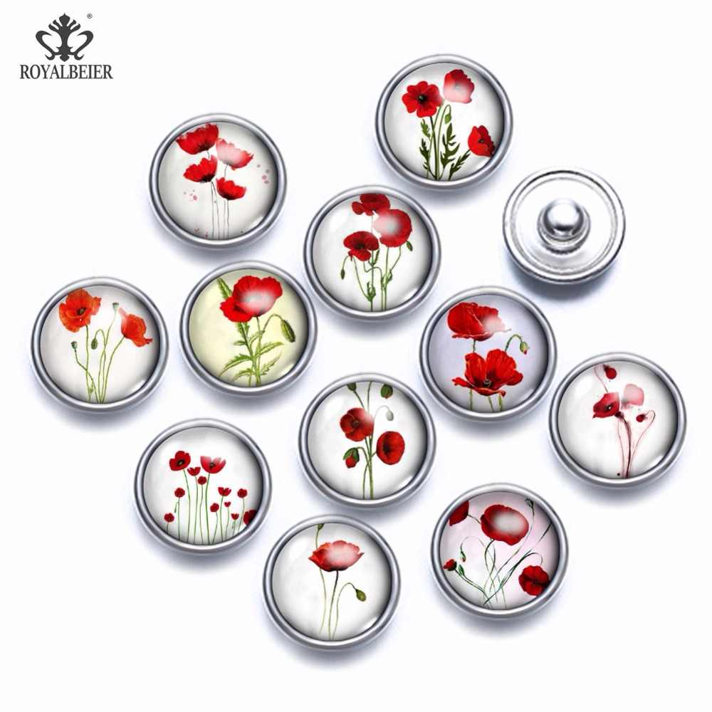 12pcs/lot Mixed Patterns Red Flowers 12mm Glass Cabochon Button Jewelry Faceted Glass Snap Fit Snap Earrings Bracelet Necklace