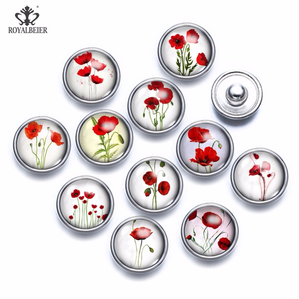 12pcs/lot Mixed Patterns Red Flowers <font><b>12mm</b></font> Glass Cabochon <font><b>Button</b></font> <font><b>Jewelry</b></font> Faceted Glass <font><b>Snap</b></font> Fit <font><b>Snap</b></font> Earrings Bracelet Necklace image