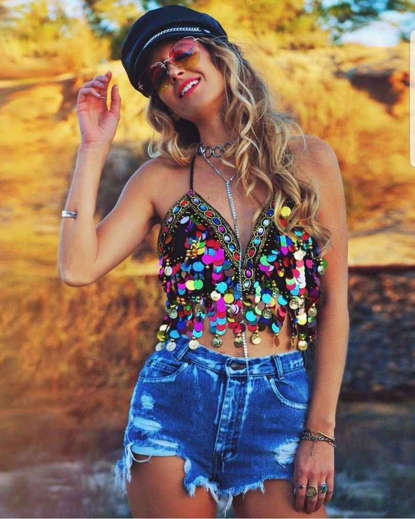 b06f218d16 Rainbow Sequin Tassel Mermaid Mirror Festival Body Harness Bra Bralette  Crop Top Beading Coins Lace-