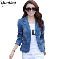 Yunting 2017 Spring Autumn Slim Denim Jacket Causal Blue Long Sleeve Jeans Jacket One Button Fashion