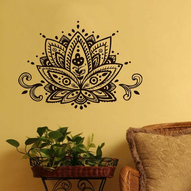 DCTOP Tribal Lotus Flowers Wall Stickers Home Decor Living Room ...