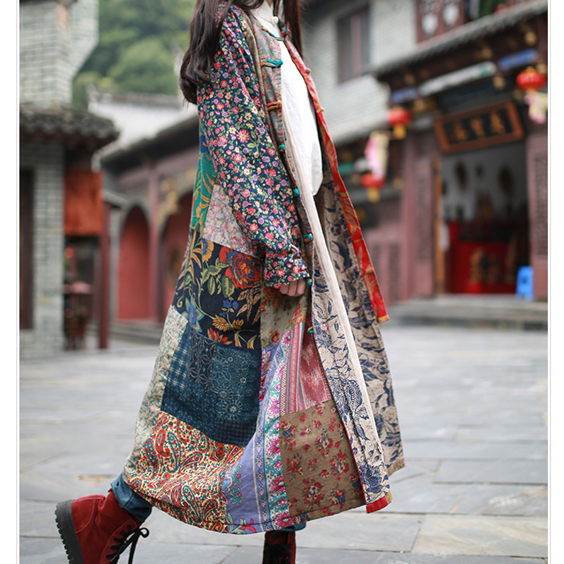2019 New Spring Coat Loose Vintage Casual Trench Long Windbreaker Cotton Linen Patchwork Overcoat Casaco Feminino 3 Patterns