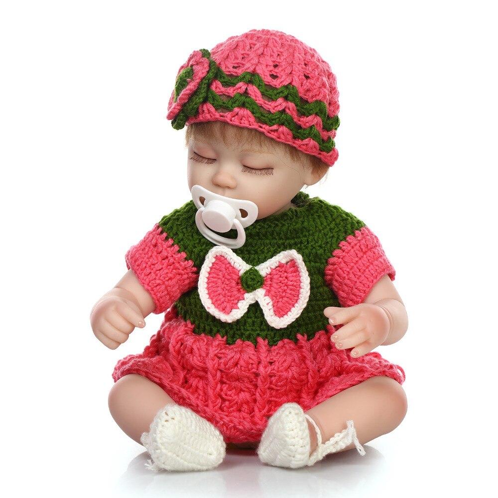 40cm Silicone reborn sleeping girl baby dolls 16inch vinyl newborn princess babies doll play house toy birthday gift present