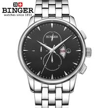 Switzerland men's watch luxury brand Wristwatches BINGER Quartz full stainless male watch steel Superocean Chronograph BG-0404-2