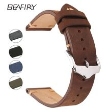 BEAFIRY Genuine Leather Watch Band 18 20 22mm Brown Blue Green Grey Black Crazy Horse Calfskin straps