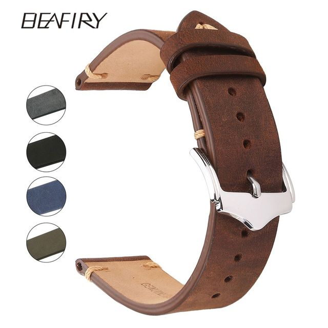 BEAFIRY Genuine Leather Watch Band 18 20 22mm Brown Blue Green Grey Black Crazy
