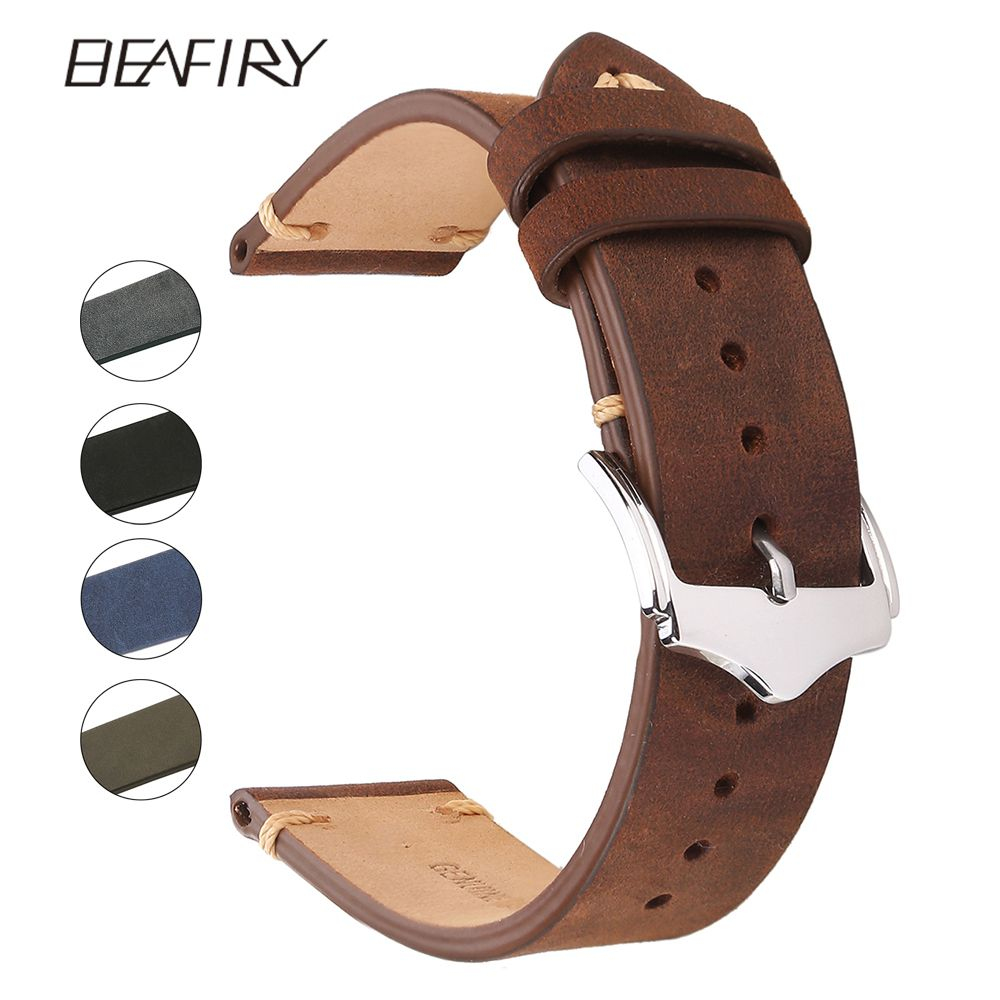 BEAFIRY Genuine Leather Watch Band 18mm 19mm 20mm 22mm Brown Blue Green Grey Black Crazy Horse Calfskin Leather Watch Straps
