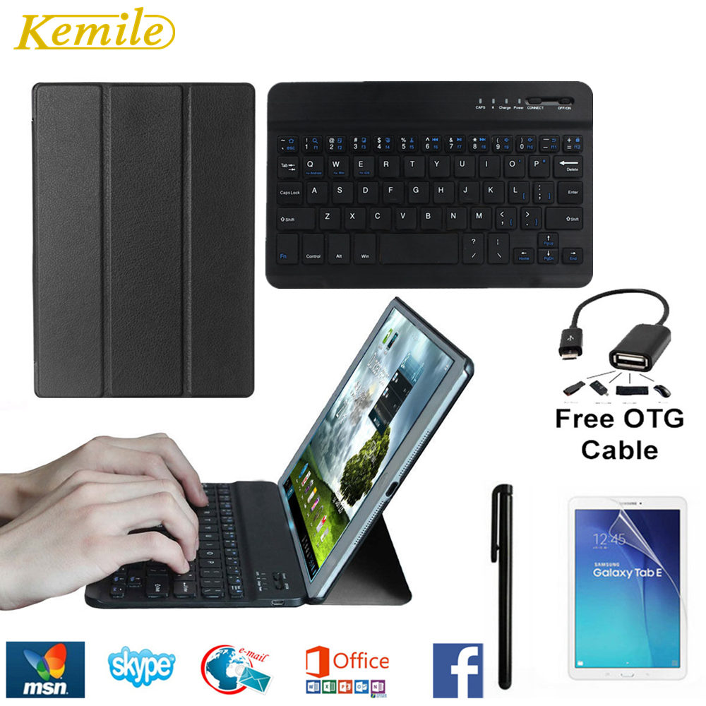 Kemile Slim Magnetic Folding Flip PU Case for Samsung Galaxy Tab A 10.1 2016 T580 T585N Cover With Wireless Bluetooth Keyboard bluetooth keyboard for samsung galaxy note gt n8000 n8010 10 1 tablet pc wireless keyboard for tab a 9 7 sm t550 t555 p550 case